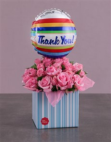 flowers: Thank You Balloon and Pink Rose Box!