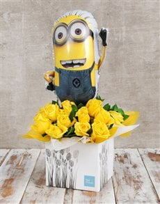 flowers: Despicable Me Balloon and Rose Box!