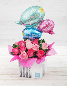 flowers: Love You Most Balloon and Flower Box!