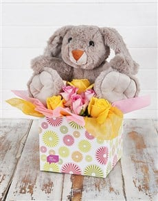 flowers: Cuddly Rabbit and Rose Box!