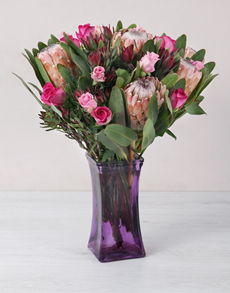 flowers: Roses and Protea in a Purple Square Vase!