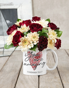 gifts: You Are Amazing Rose Mug Arrangement!