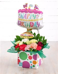 flowers: Mixed Carnations and Birthday Cake Balloon Box!