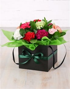 flowers: Mixed Carnations in Black Flower Box!