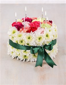 flowers: Carnation and Spray Cake with Green Ribbon!