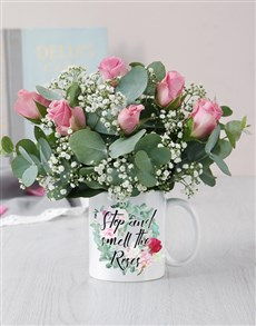 flowers: Smell The Roses Mug Arrangement!