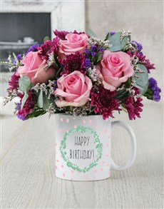flowers: Happy Birthday Garland Mug Arrangement!
