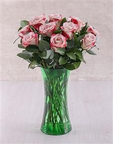 flowers: Variegated Roses in Green Flair Vase!