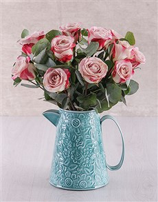 flowers: Variegated Roses in Blue Jug!