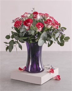 flowers: Variegated Roses in Purple Lady Vase!
