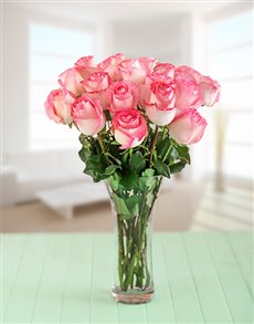 flowers: Pink Giant Ethiopian Roses in a Vase!