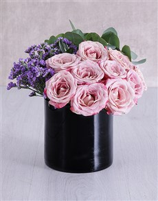 flowers: Variegated Roses in Solid Black Cylinder Vase!