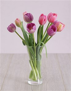 flowers: Pink and Purple Tulips in Vase!