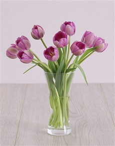 flowers: Purple Tulips in Flair Vase!