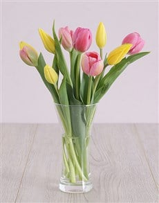flowers: Pink and Yellow Tulips in Vase!