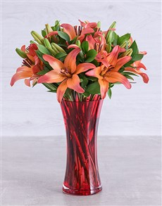 flowers: Sunset Lily Vase!