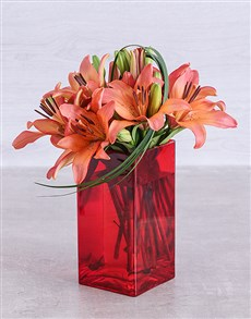 flowers: Sunset Lilies and Leriopi in a Red Square Vase!