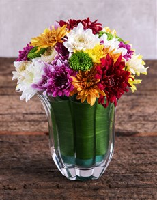 flowers: Mixed Sprays in a Clear Vase!