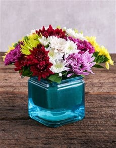flowers: Sprays in Square Blue Vase!