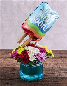 flowers: Get Well Soon Balloon and Sprays in Blue Vase!