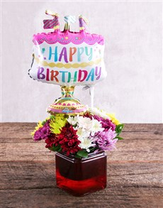 flowers: Birthday Cake Balloon and Sprays Gift!