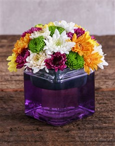 flowers: Mixed Sprays in a Purple Square Vase!