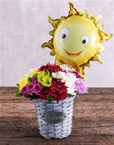 flowers: Basket of Sprays and Sunny Balloon!