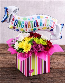 flowers: Congratulations Balloon and Sprays in Striped Box!
