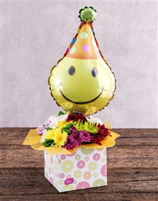 flowers: Smiley Balloon and Sprays in Spring Box!