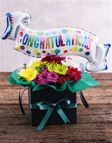 flowers: Congratulations Balloon and Sprays in Black Box!
