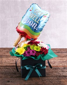 flowers: Get Well Balloon and Sprays in Black Box!