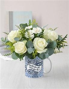 flowers: Thanks White Rose Mug Arrangement!