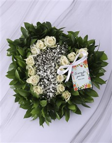flowers: White Rose Funeral Heart!