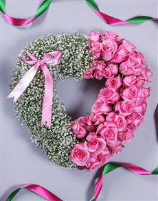flowers: Pink Rose and Million Star Funeral Heart!