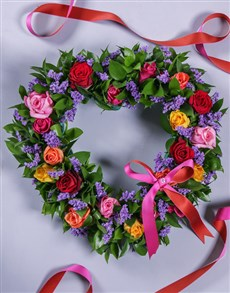 flowers: Mixed Rose Funeral Heart!