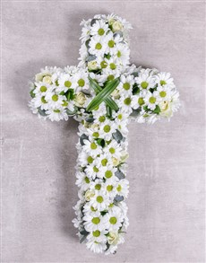 flowers: White Funeral Cross!