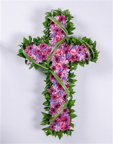 flowers: Pink and Purple Funeral Cross!