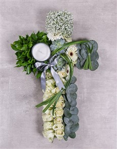 flowers: Green and White Funeral Cross!