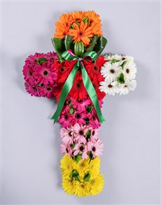 flowers: Mixed Gerbera Funeral Cross!