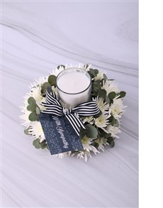flowers: White Spray Sympathy Candle!