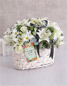 flowers: White Sympathy Basket!