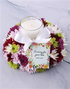 flowers: Mixed Spray Sympathy Candle!