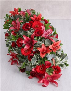 flowers: Red Funeral Coffin Display!