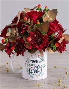 flowers: Golden Red Spray Mug Arrangement!