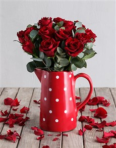 flowers: Dotted Red Rose Jug!