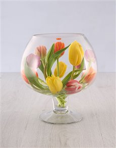 flowers: Tulips in a Wine Glass Shaped Vase!