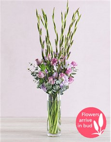 flowers: Purple Gladioli with Roses and Gum Leaves!