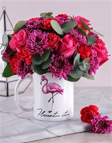 flowers: Flaunt It Cerise Mixed Flower Mug!