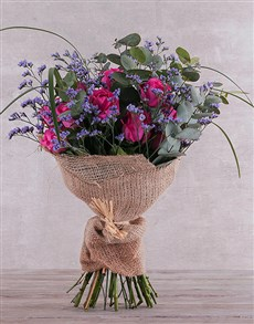 flowers: Cerise Rose Bouquet in wrapping!