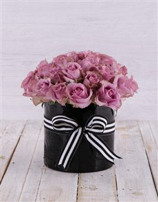 flowers: Solid Purple Rose Arrangement!